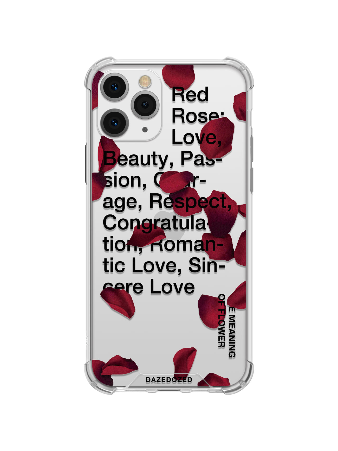 Red Rose Petals Phone Case, Black Font