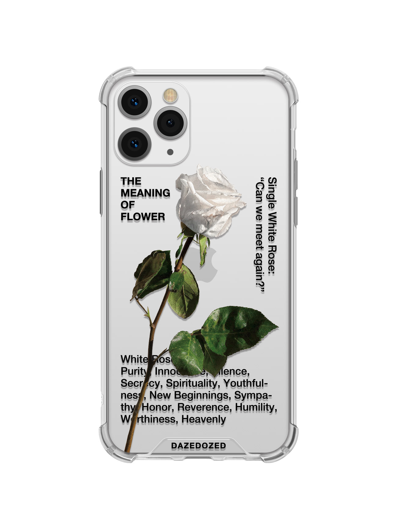 White Rose Phone Case, Black Font